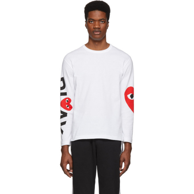 Photo: Comme des Garcons Play White and Red Logo Single Heart Long Sleeve T-Shirt