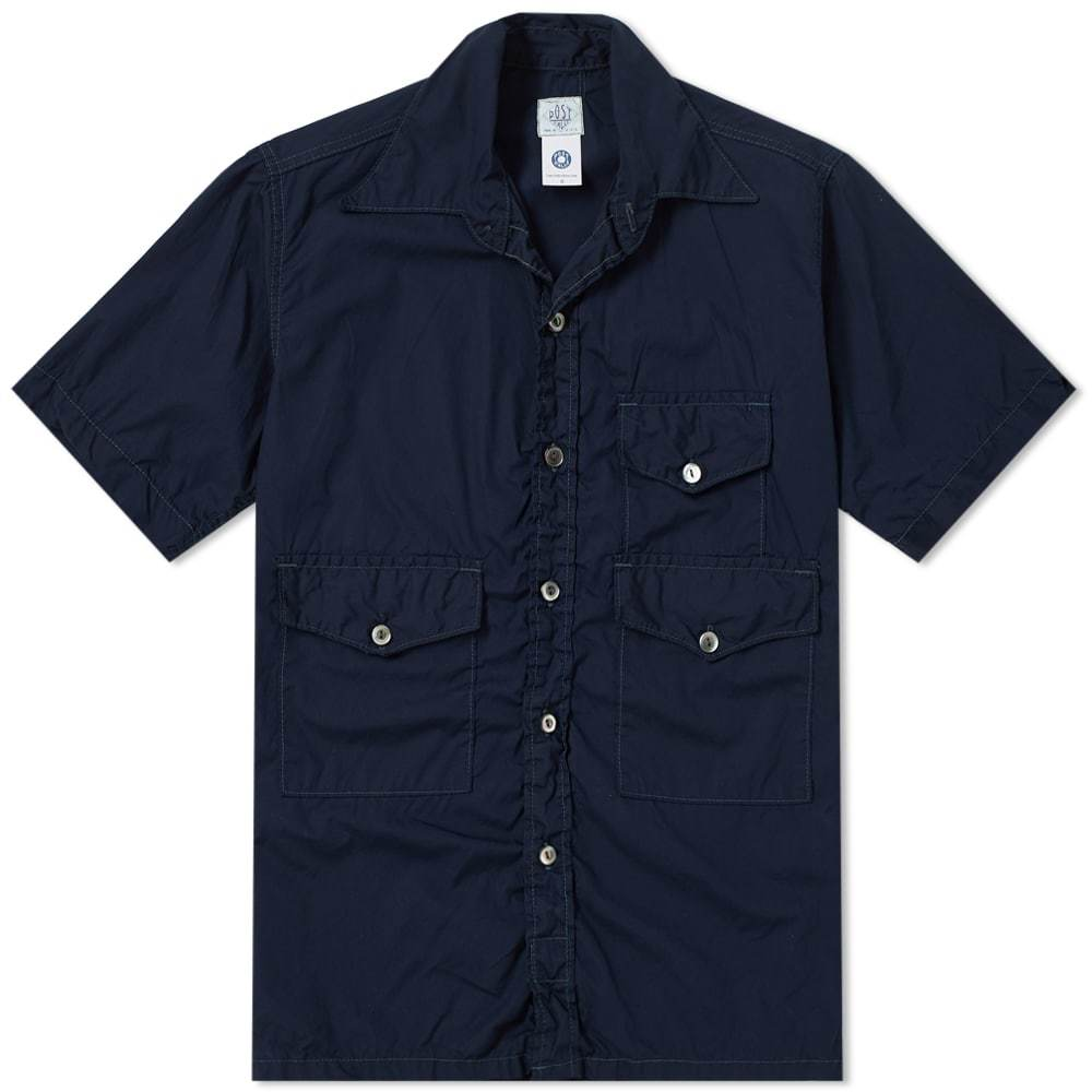 Photo: Post Overalls Short Sleeve Town & Country Contrast Stitch Shirt Blue