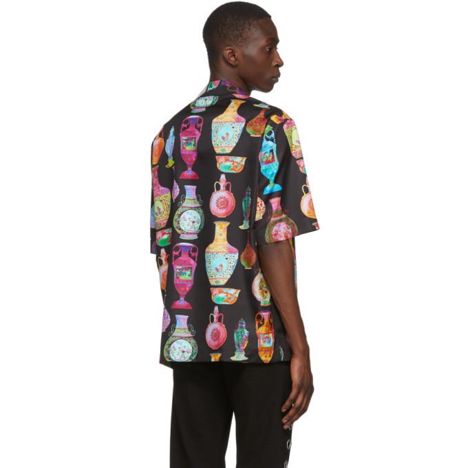 Versace Black and Multicolor Seven Vessels Shirt