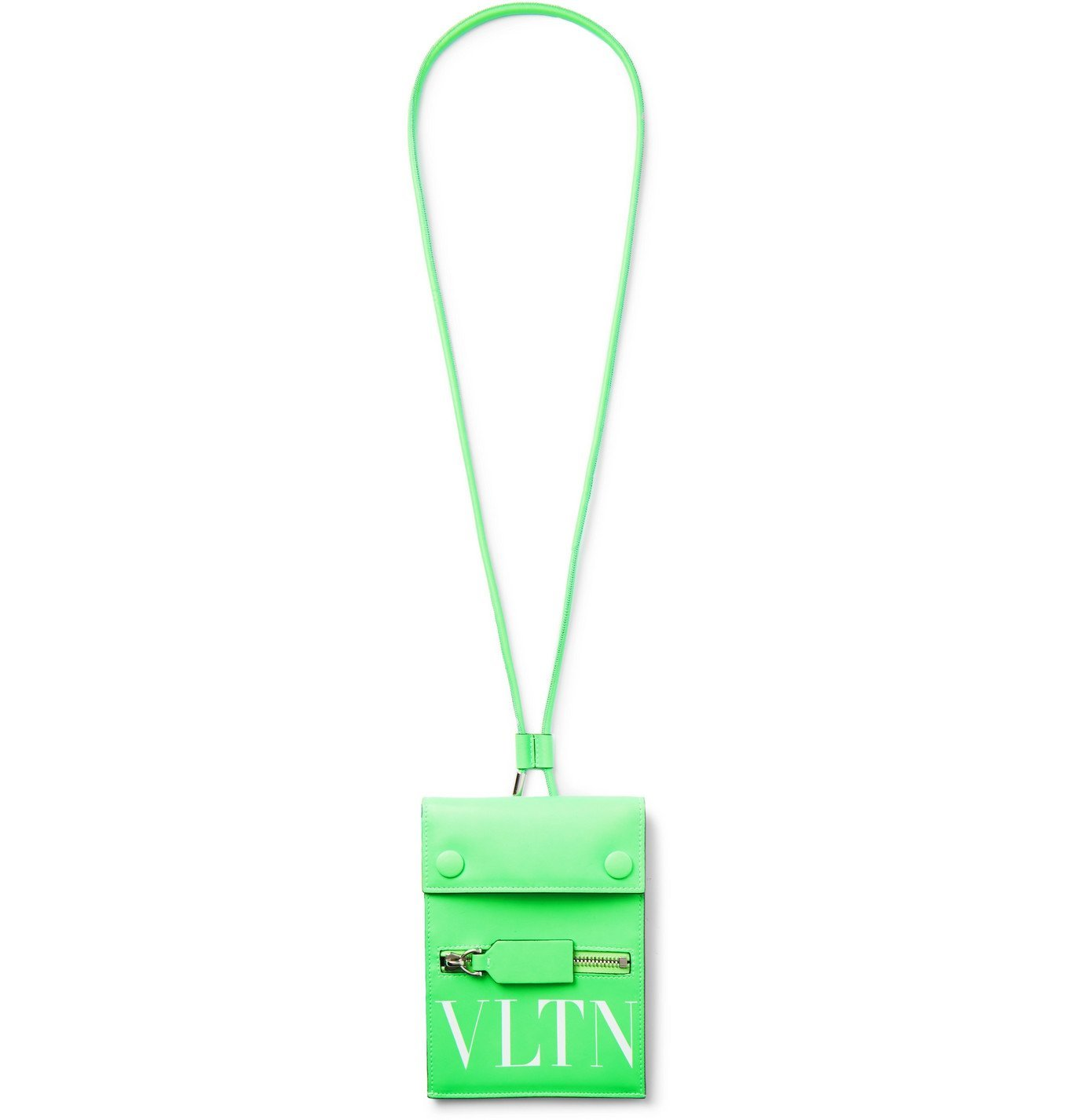 Photo: Valentino - Logo-Print Leather Pouch - Green