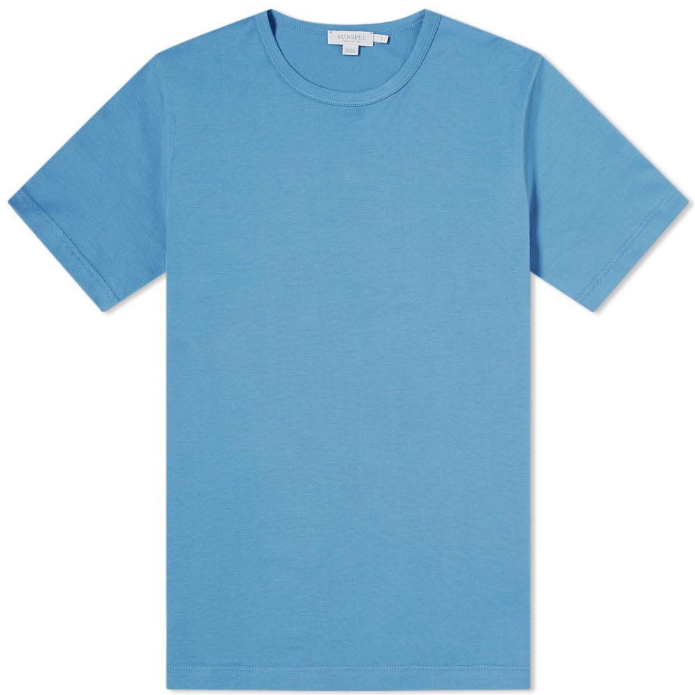 Sunspel Classic Crew Neck Tee Cerulean Blue