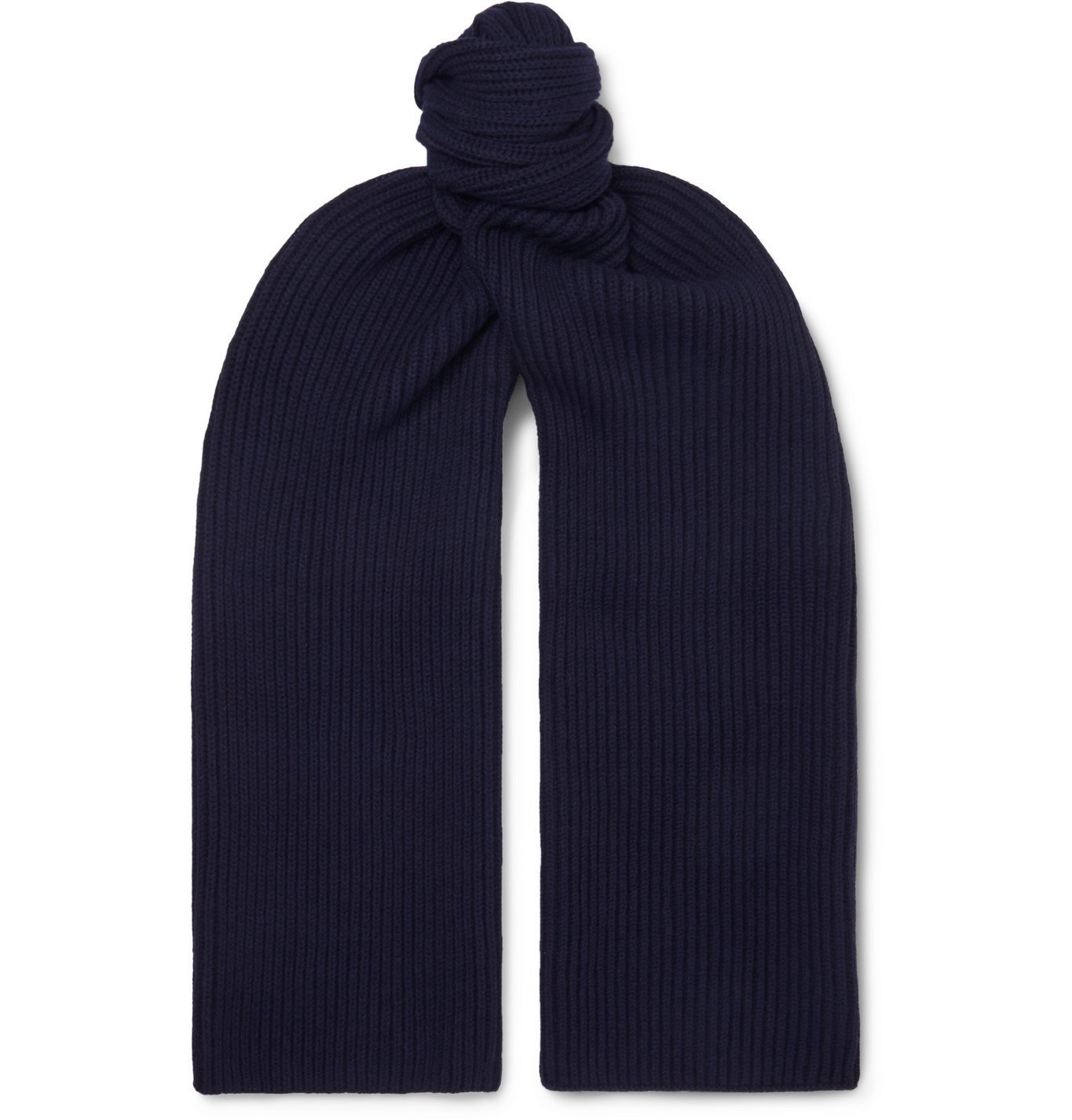 Photo: A.P.C. - Ribbed Mélange Merino Wool and Cashmere-Blend Scarf - Blue
