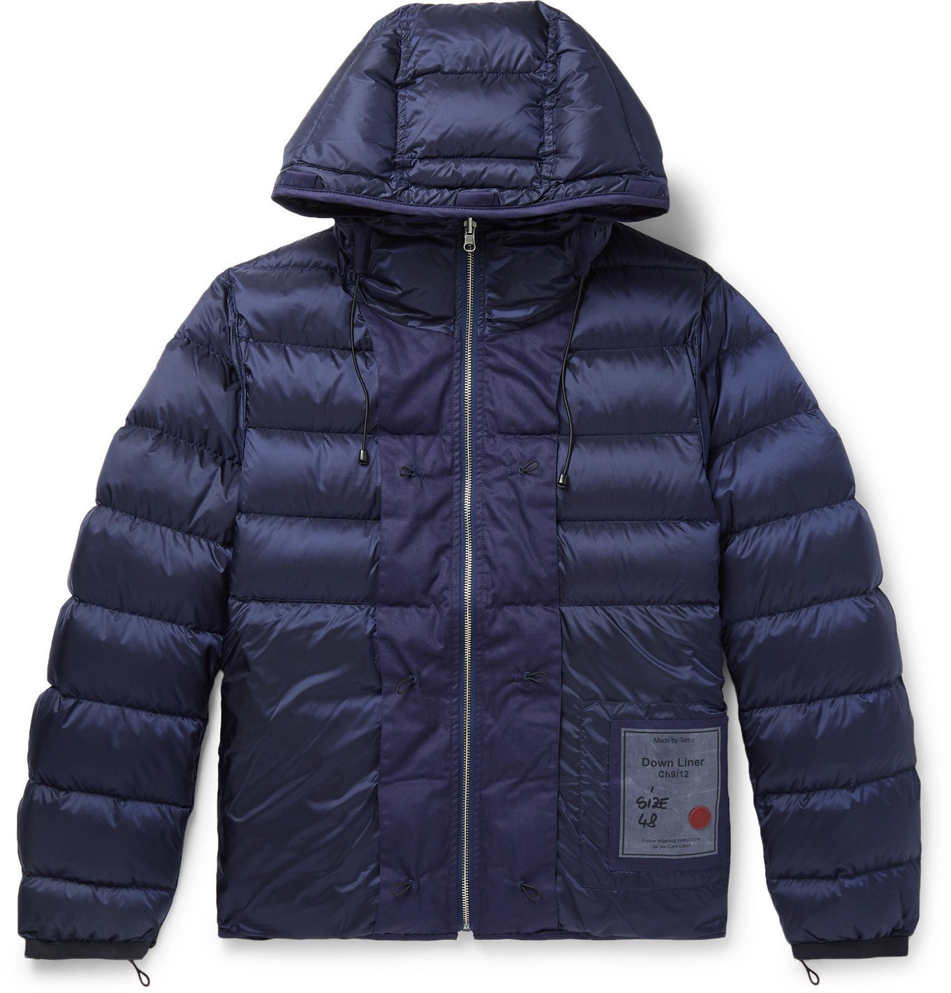 Photo: Ten C - Slim-Fit Reversible Quilted Shell Hooded Down Liner - Blue