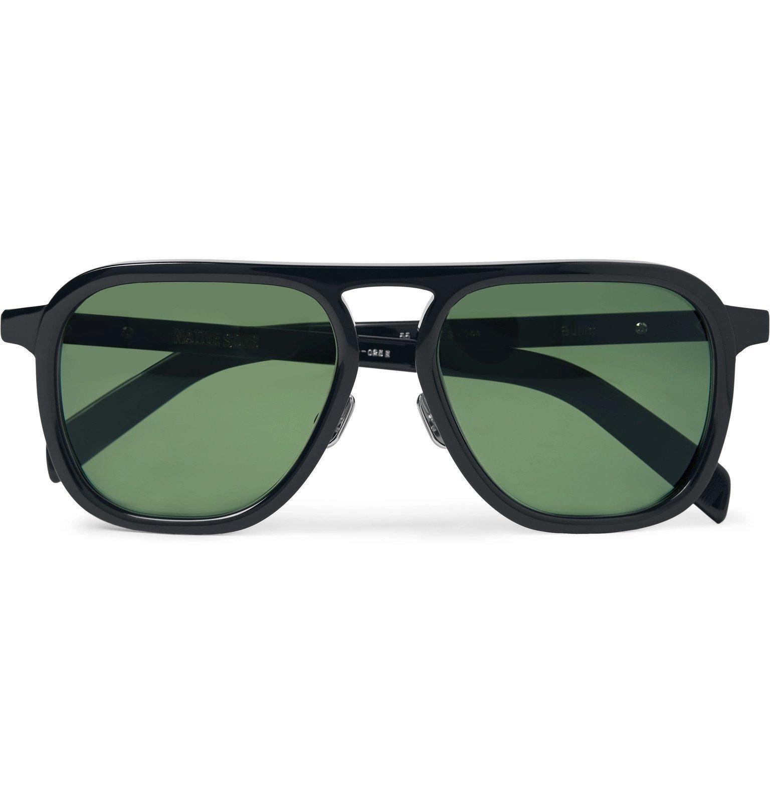Photo: Native Sons - Bullitt Aviator-Style Acetate Sunglasses - Black