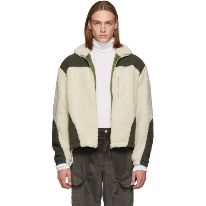 Photo: GmbH Green and Off-White Teddy Fleece Kol Zip-Up Sweater