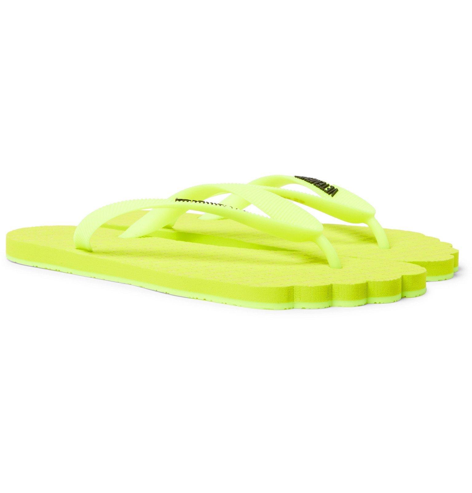 Photo: Vetements - Anatomic Logo-Print Neon Rubber Flip Flops - Yellow