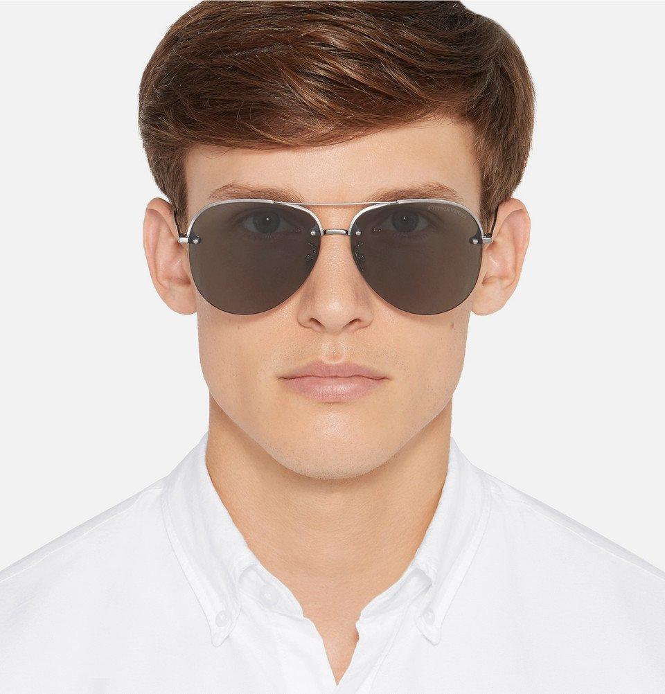 Bottega Veneta - Aviator-Style Silver-Tone Sunglasses - Men - Black
