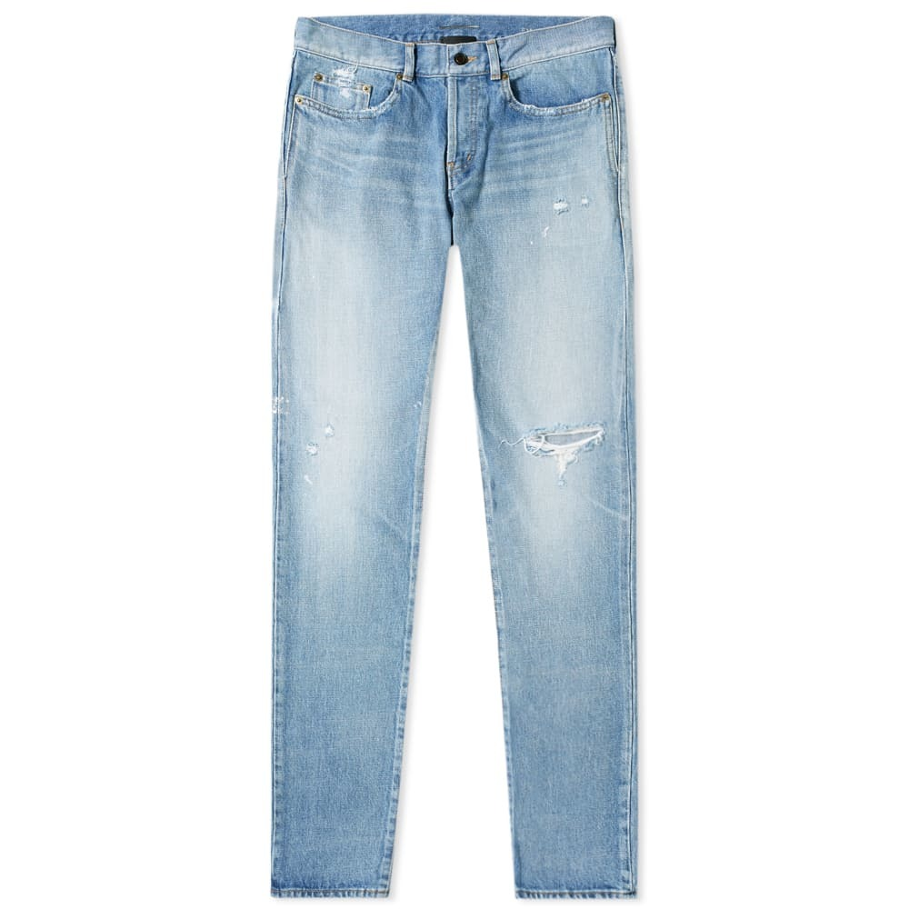 Photo: Saint Laurent Slim Fit Holes Jean Dirty Used Blue Wash