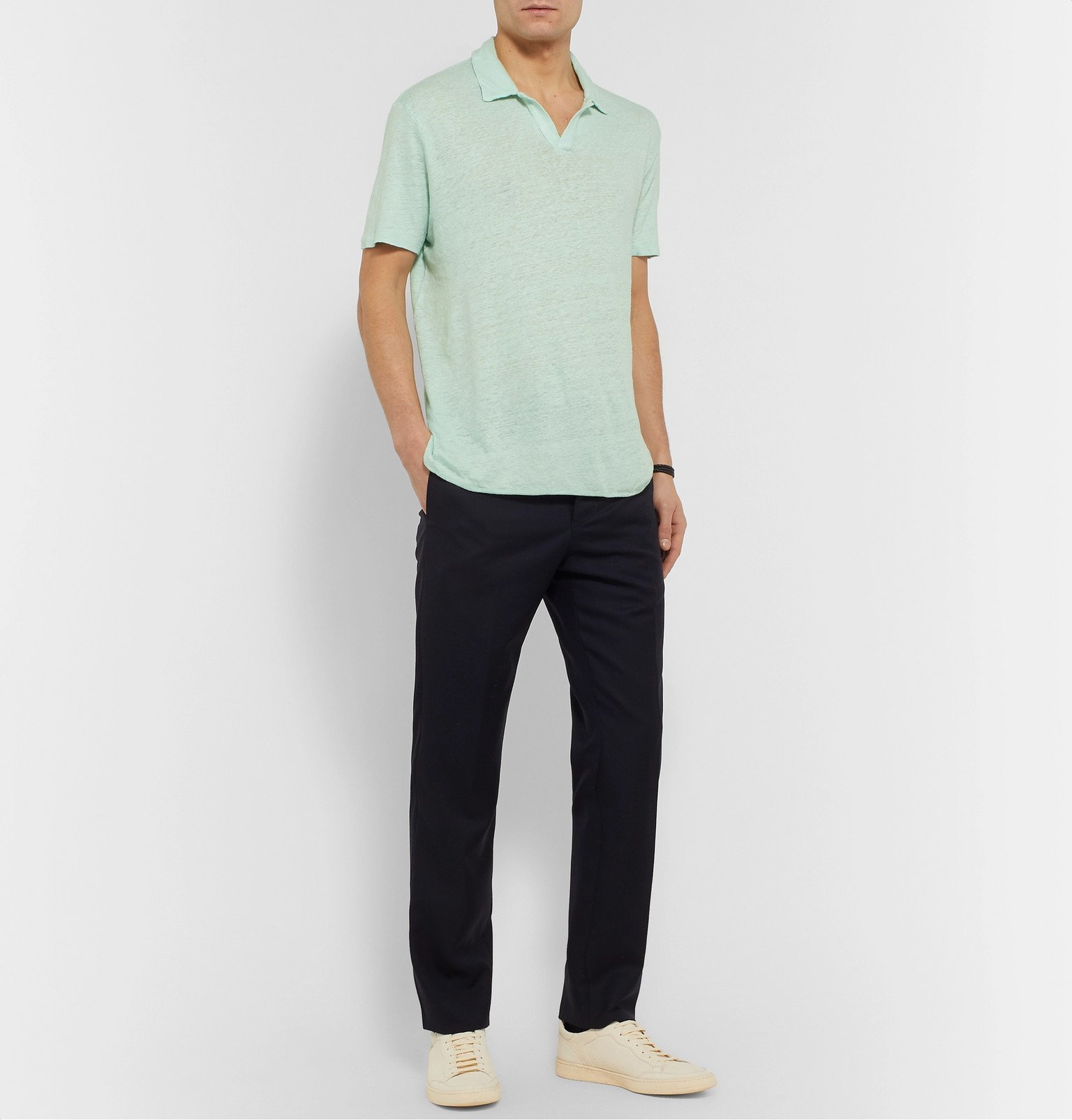 Officine Generale - Simon Slim-Fit Garment-Dyed Linen Polo Shirt - Green