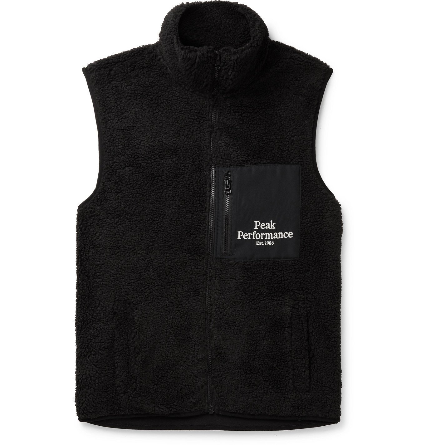 Photo: Peak Performance - Logo-Embroidered Shell-Trimmed Fleece Gilet - Black