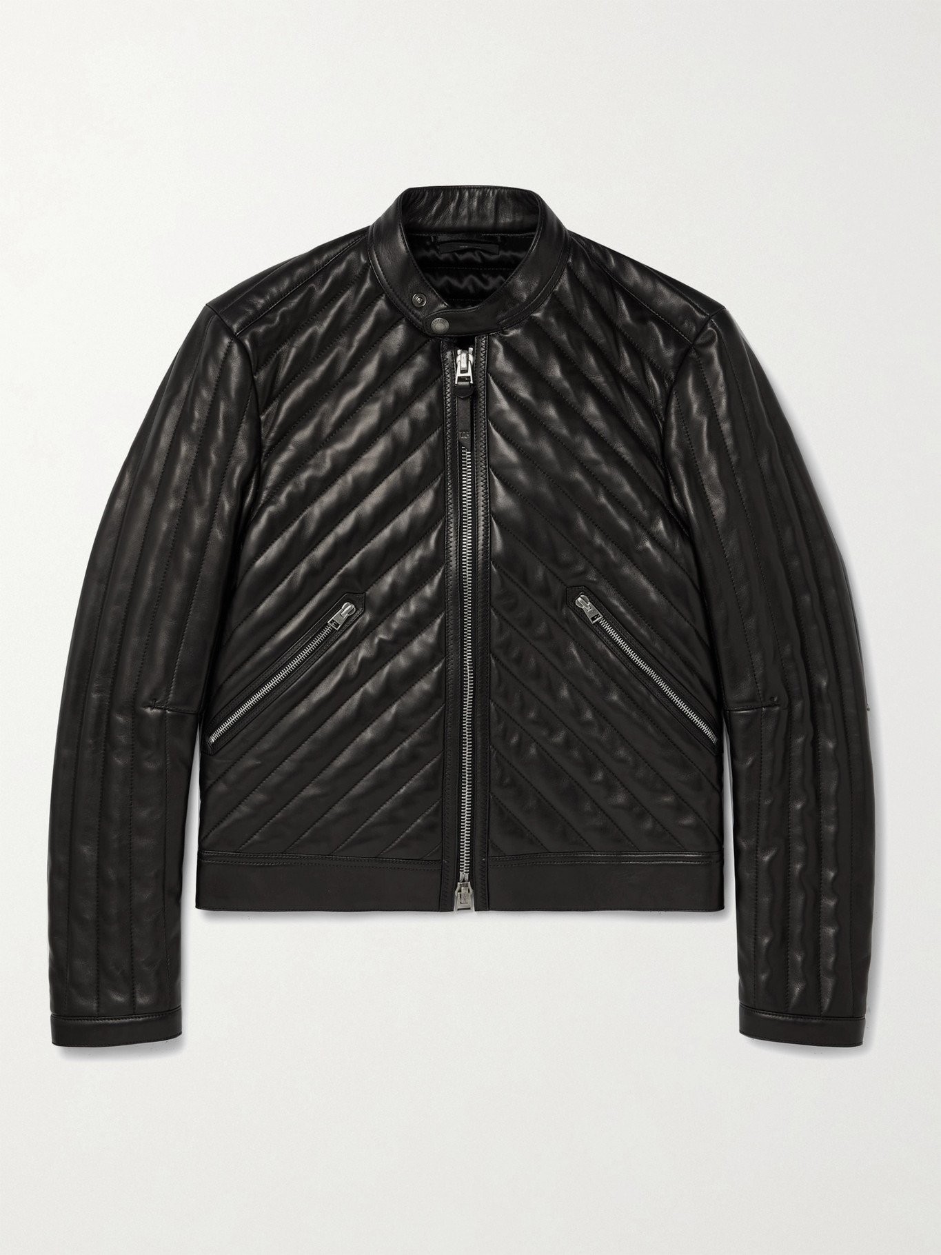 Photo: TOM FORD - Slim-Fit Cropped Quilted Leather Biker Jacket - Black