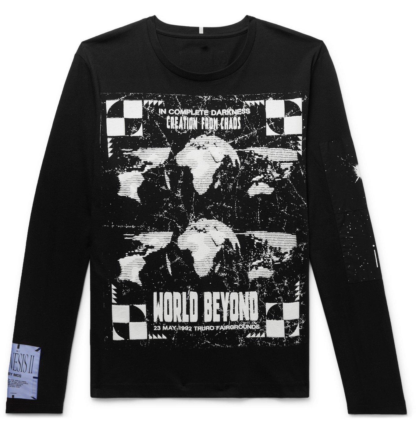 Photo: MCQ - Appliquéd Printed Cotton-Jersey T-Shirt - Black