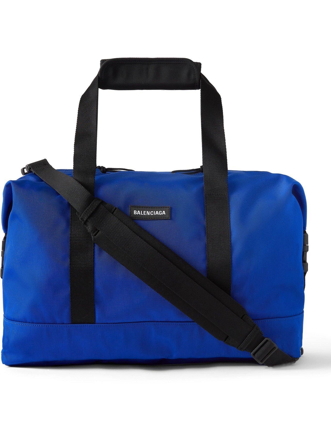 Photo: BALENCIAGA - Explorer Logo-Appliquéd Nylon-Canvas Holdall - Blue