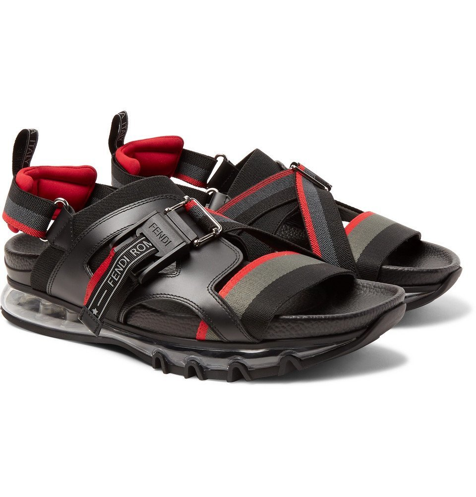 Photo: Fendi - Leather-Trimmed Webbing Sandals - Black