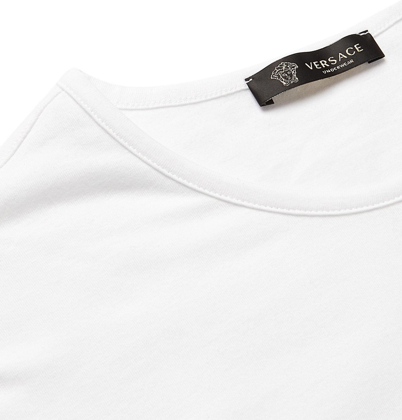 Versace - Two-Pack Slim-Fit Logo-Print Stretch-Cotton Jersey T-Shirts - White