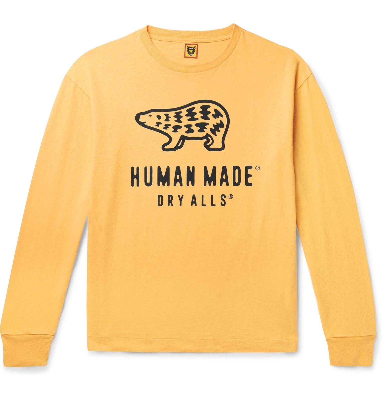 Photo: Human Made - Logo-Print Cotton-Jersey T-Shirt - Yellow