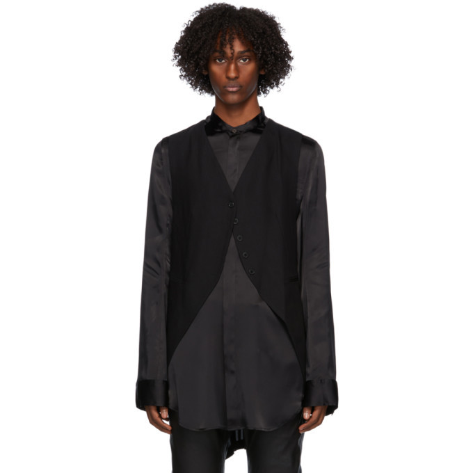Photo: Ann Demeulemeester Black Wool Oversized Waistcoat
