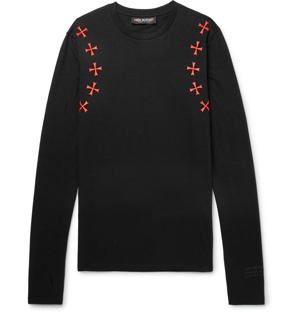 Photo: Neil Barrett - Printed Stretch-Cotton Jersey T-Shirt - Men - Black
