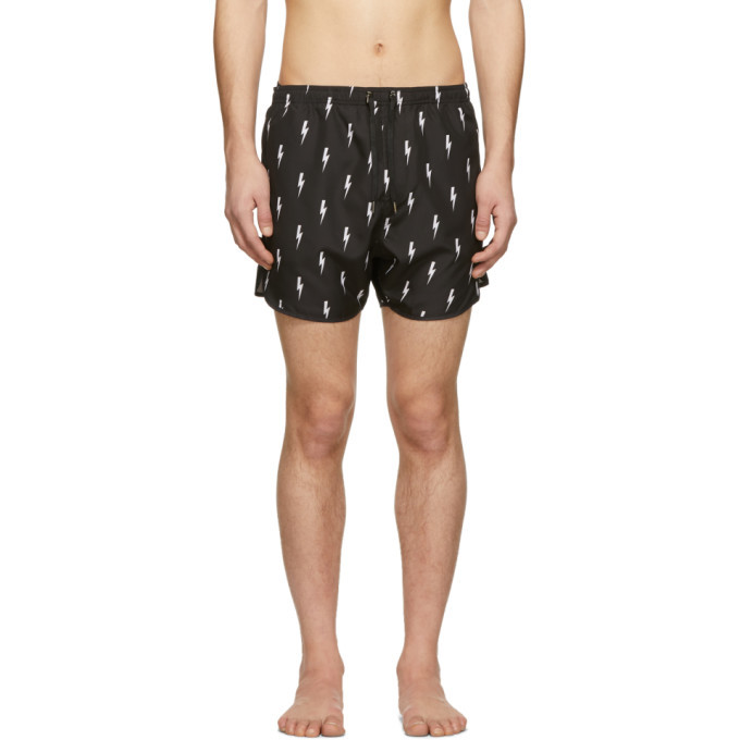 Neil Barrett Black Lightning Bolt Swim Shorts