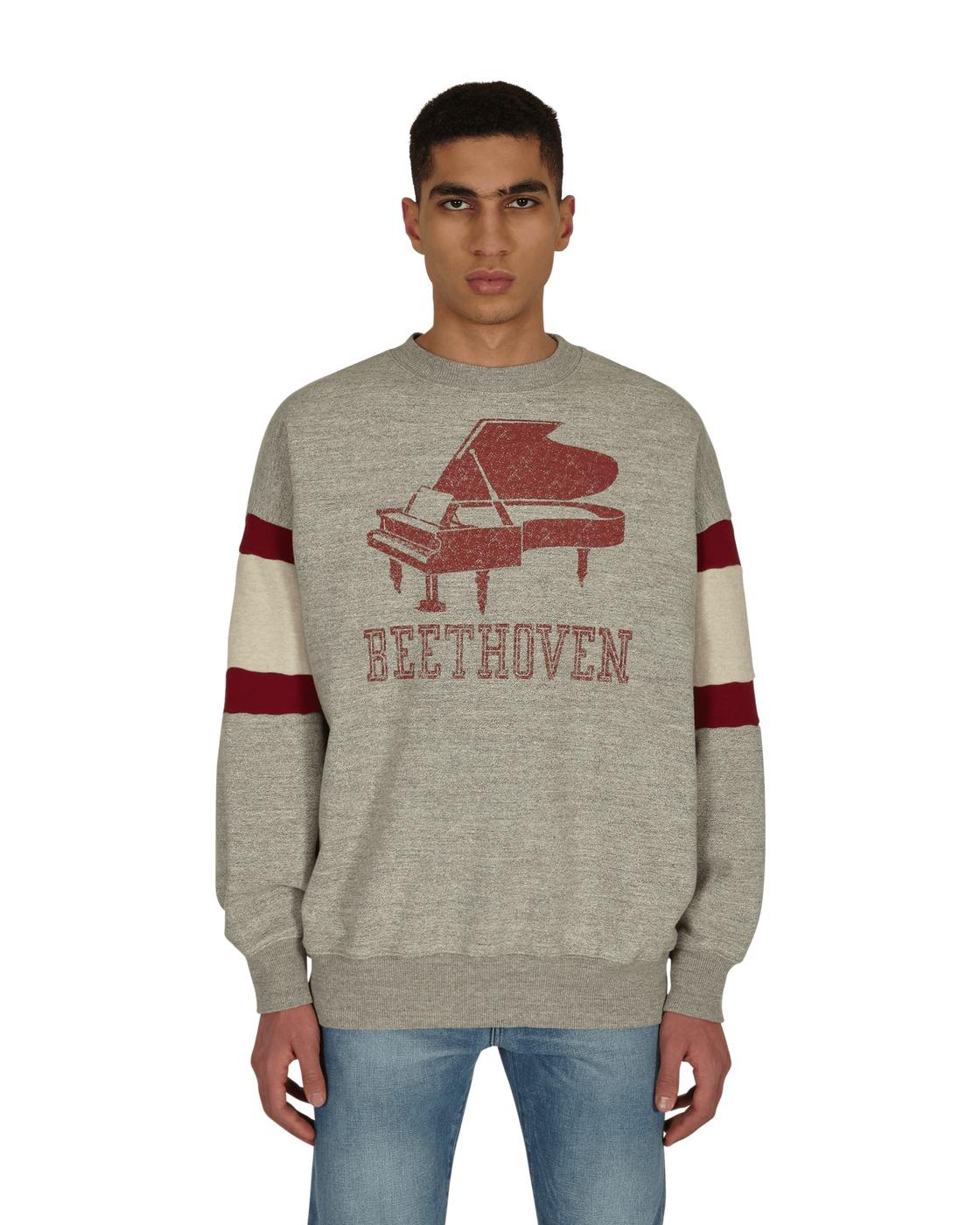 Kapital Top Fleece Knit Dolman Grand Piano Crewneck Sweatshirt Gray