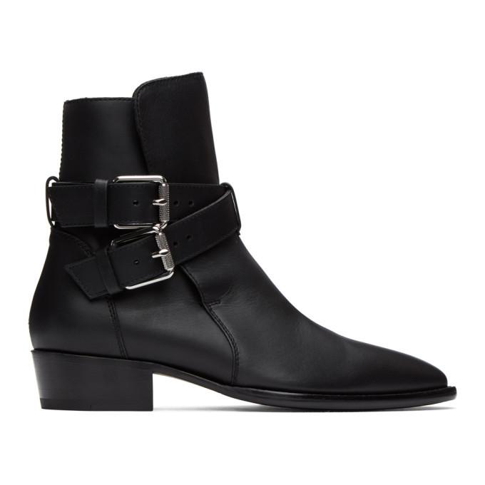 Photo: Amiri Black Two-Buckle Boots