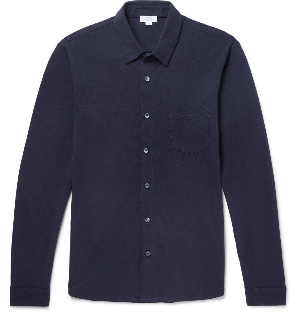 Sunspel - Cotton-Piqué Polo Shirt - Men - Navy