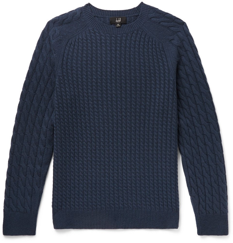 Dunhill - Cable-Knit Cashmere Sweater - Men - Storm blue