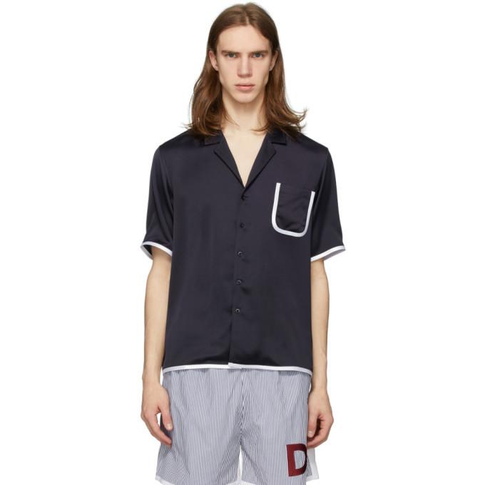 Photo: Daniel W. Fletcher Navy Contrast Binding Pyjama Shirt