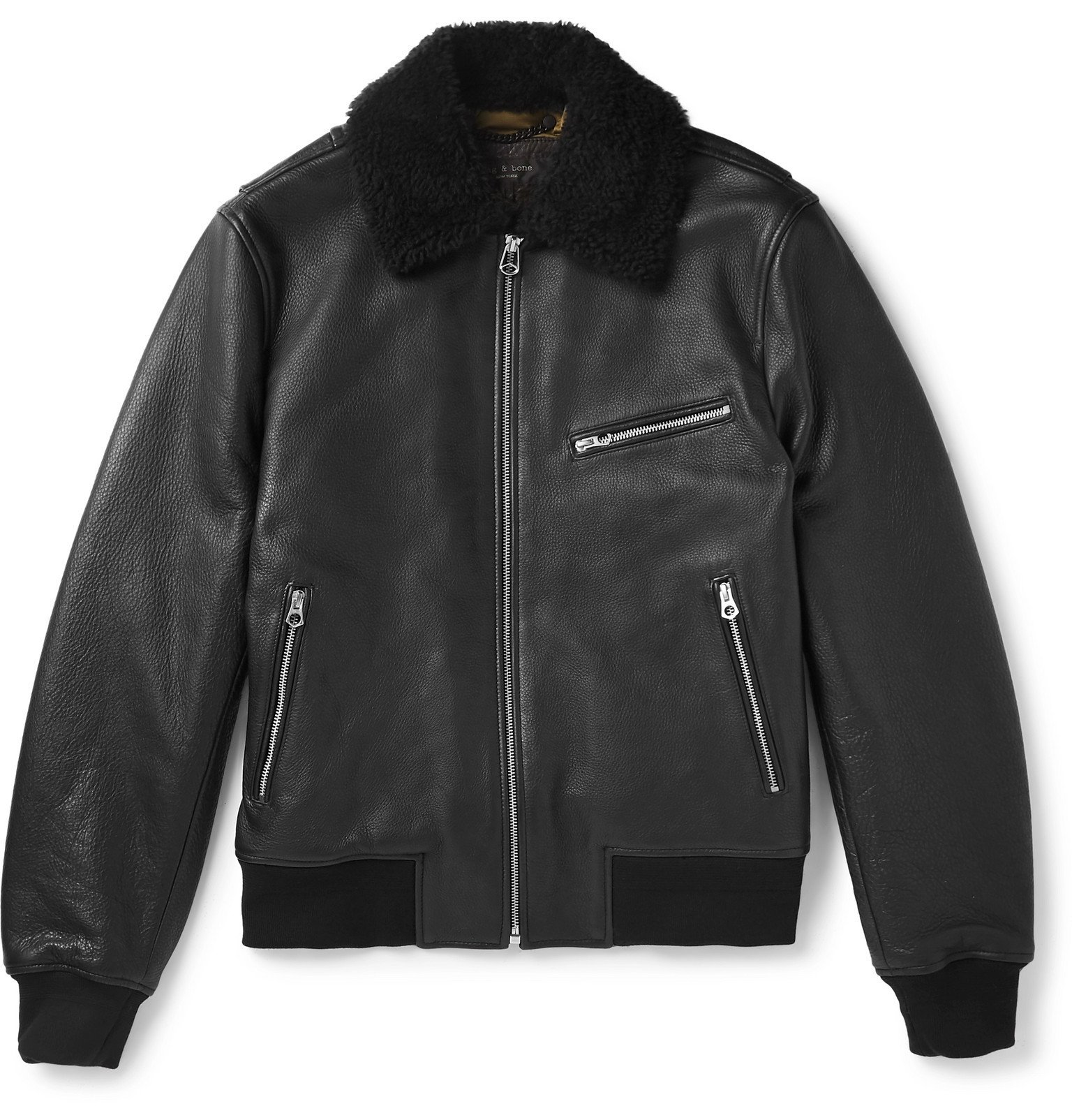 Photo: rag & bone - Shearling-Trimmed Leather Aviator Jacket - Black