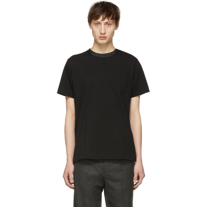 Photo: Sacai Black Button Collar T-Shirt