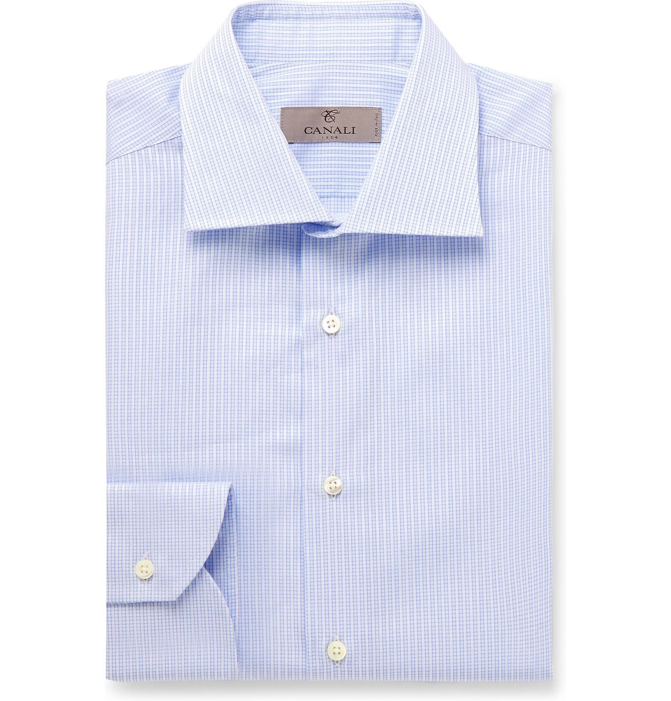 Photo: Canali - Cutaway-Collar Striped Cotton Shirt - Blue