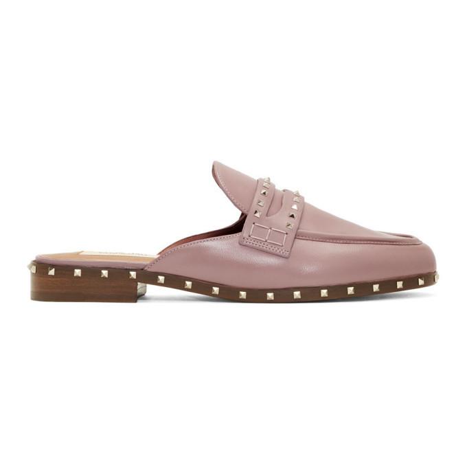 Photo: Valentino Pink Valentino Garavani Flat Rockstud Mules