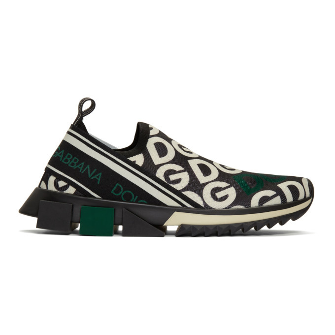 Photo: Dolce and Gabbana Black DG Mania Sorrento Slip-On Sneakers