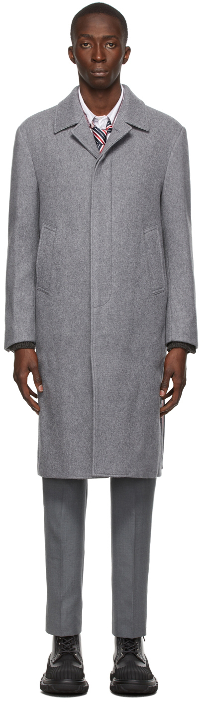 Photo: Thom Browne Grey Cashmere Double-Face Unconstructed Bal Collar Overcoat