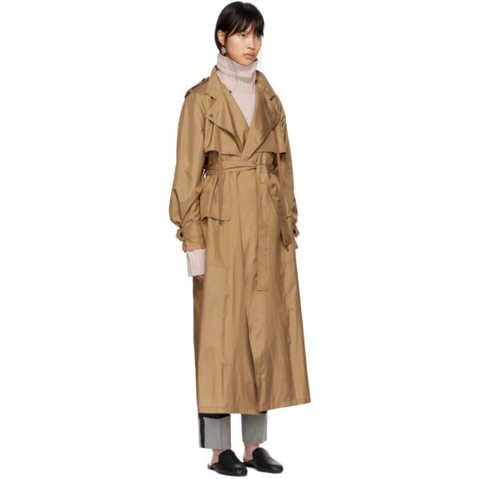 Bottega Veneta Tan Silk Satin Trench Coat