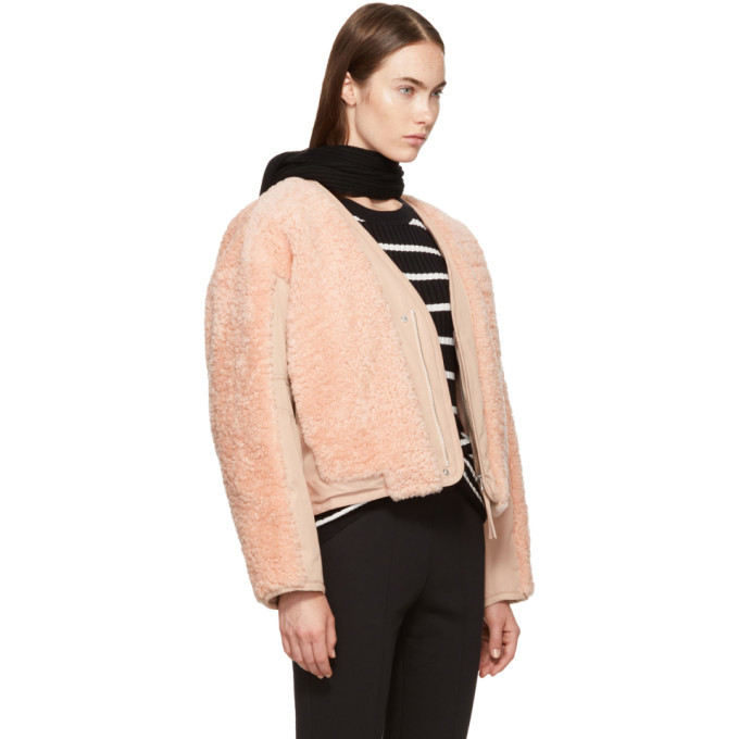 alexanderwang.t Pink Twill Shearling Bomber Jacket