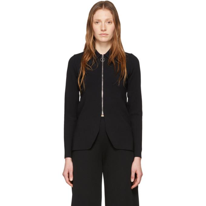 Stella McCartney Black Compact Knit Zip-Up Sweater