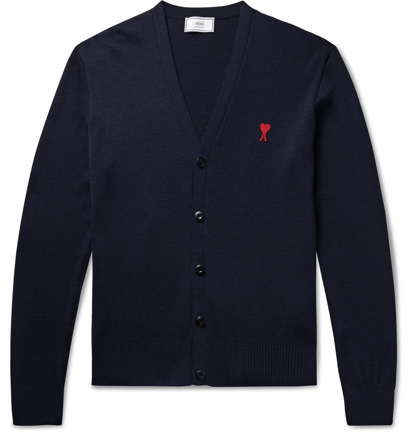 Photo: AMI - Logo-Appliquéd Merino Wool Cardigan - Blue