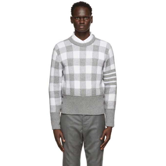 Photo: Thom Browne Grey Cashmere Gingham 4-Bar Sweater