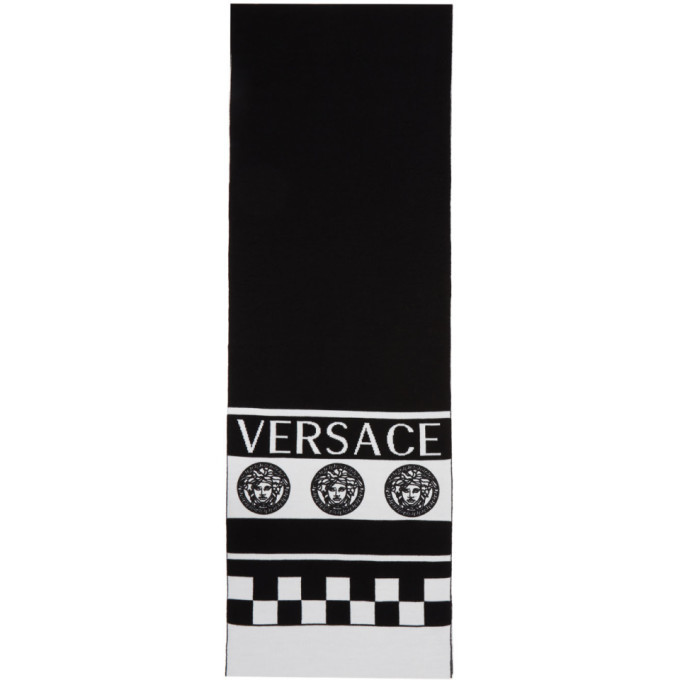 Versace Black and White Vintage Logo Scarf