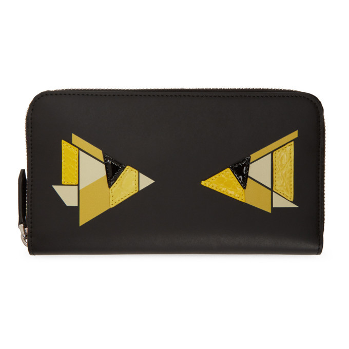 Photo: Fendi Black and Yellow Digital Bag Bugs Continental Wallet