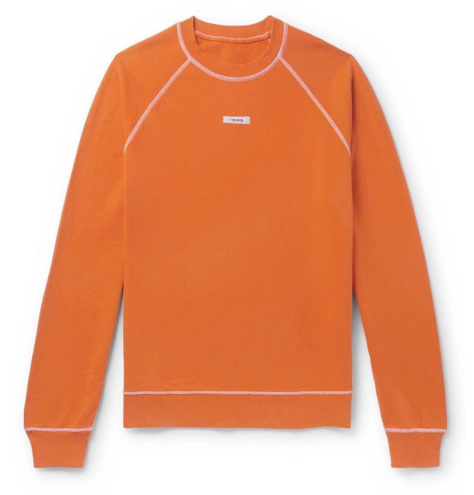 Photo: Très Bien - Logo-Appliquéd Loopback Cotton-Jersey Sweatshirt - Orange