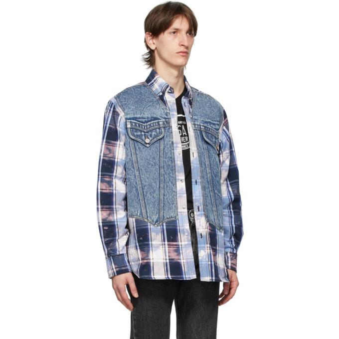Versace Blue Tartan Denim Vest Shirt