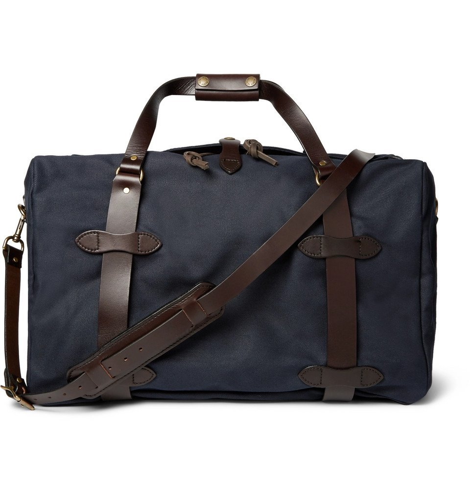 Filson - Leather-Trimmed Twill Duffle Bag - Men - Navy