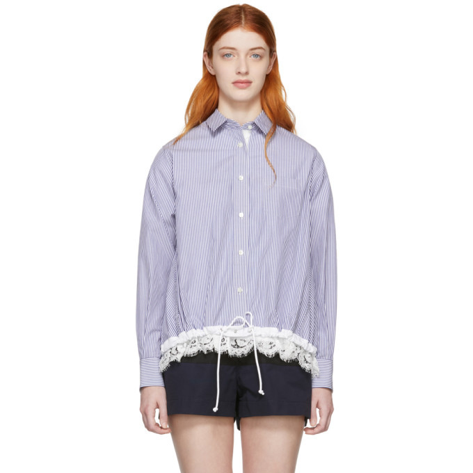 Photo: Sacai Blue and White Striped Poplin Shirt