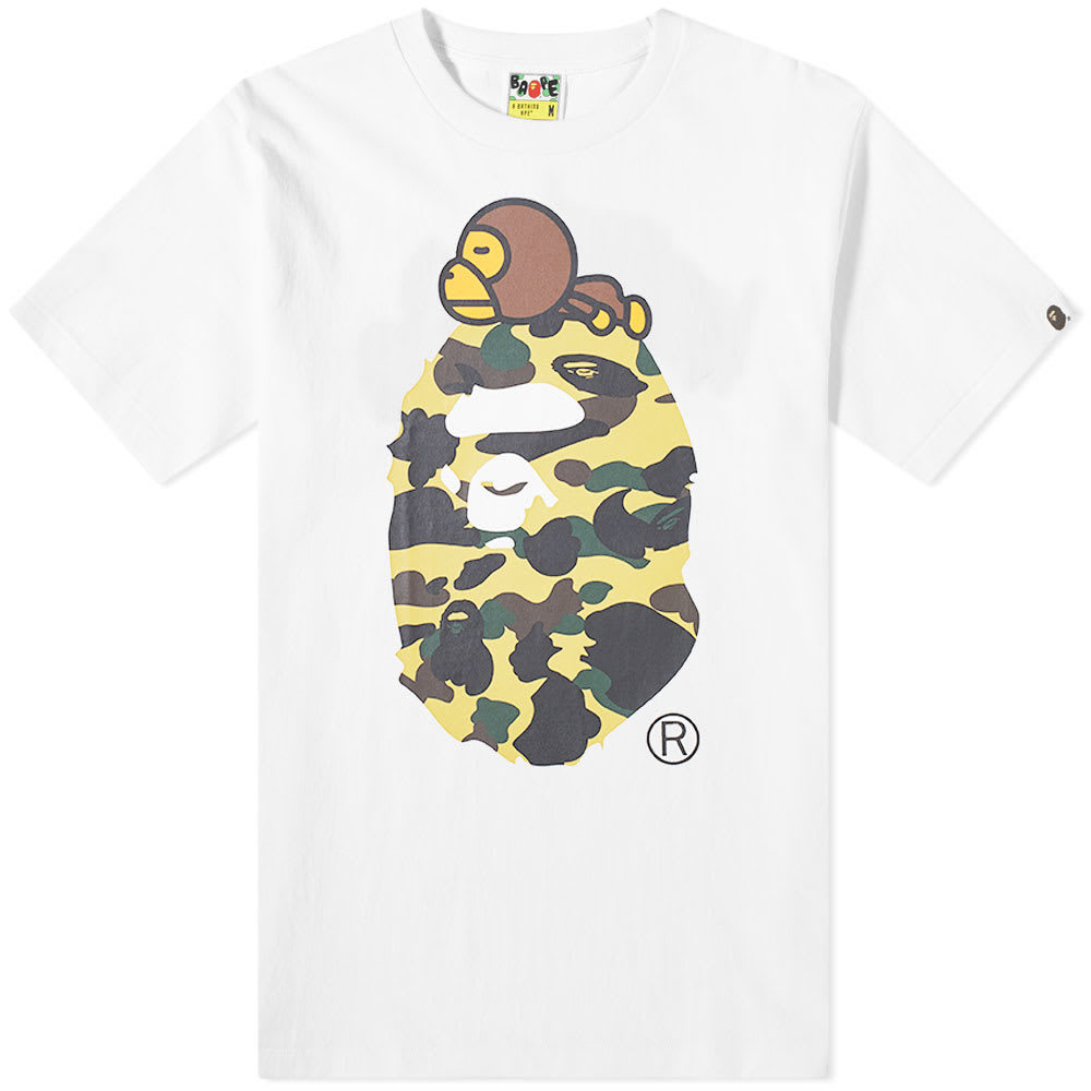 Photo: A Bathing Ape 1st Camo Milo On Big Ape Tee White & Yellow
