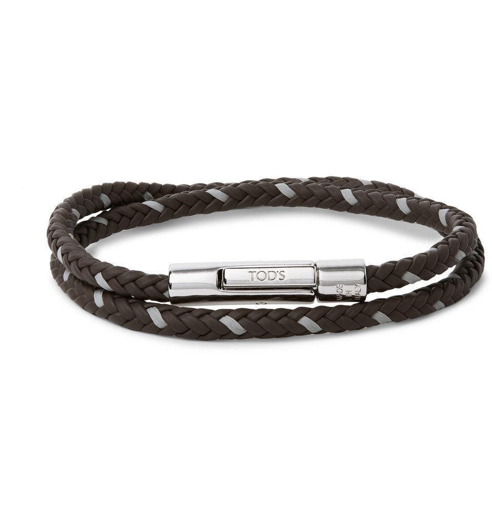 Tod's - Woven Leather and Silver-Tone Wrap Bracelet - Brown