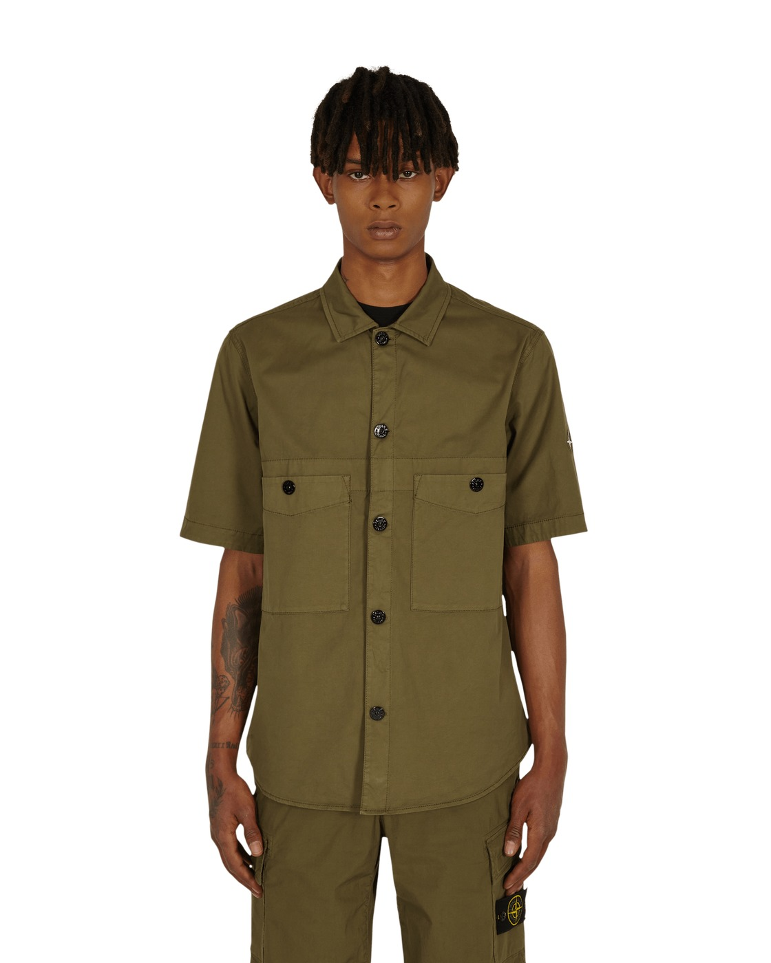 Photo: Stone Island Logo Shortsleeve Shirt Olive