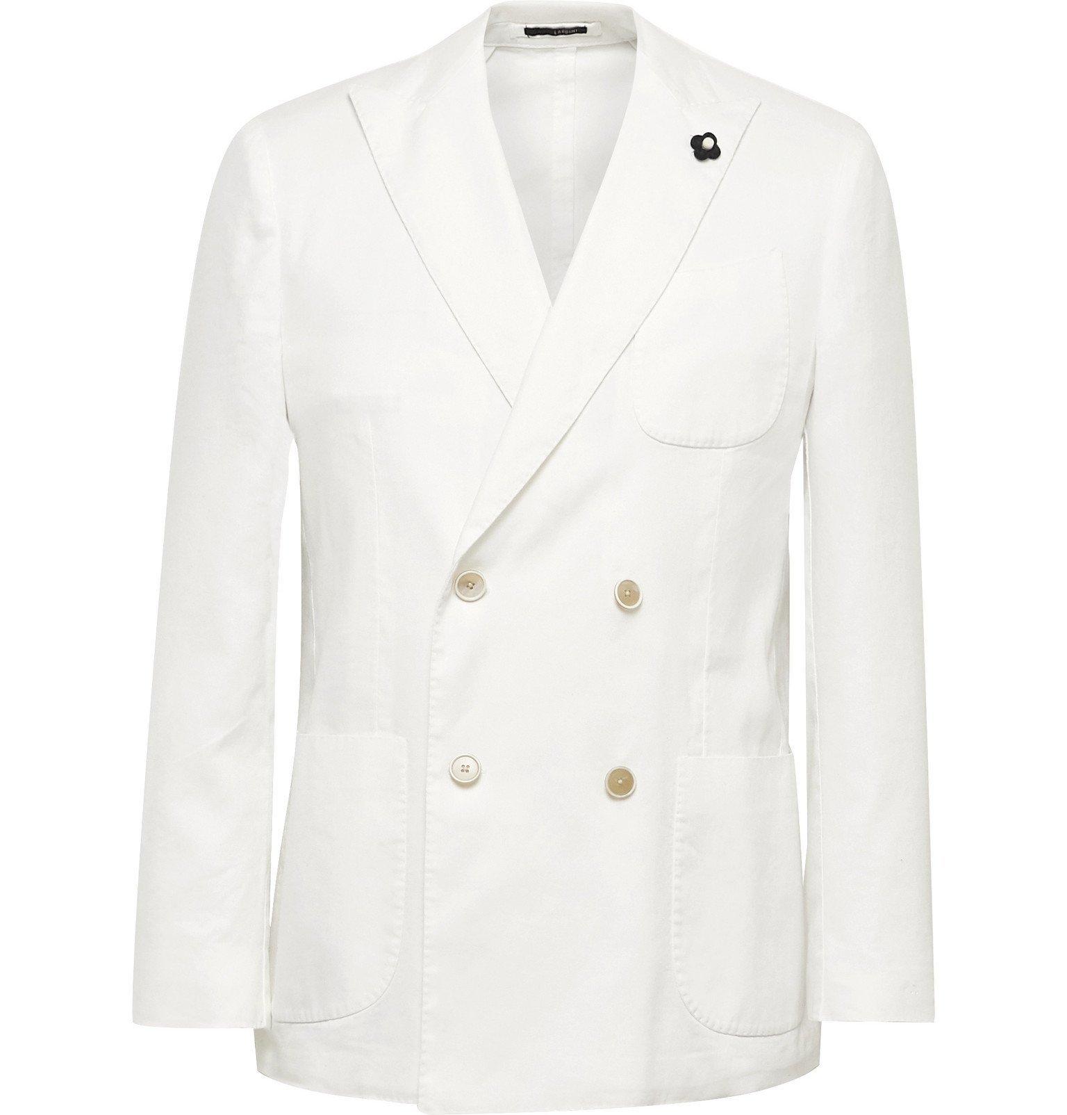 Photo: Lardini - Off-White Unstructured Double-Breasted Linen-Blend Blazer - Neutrals