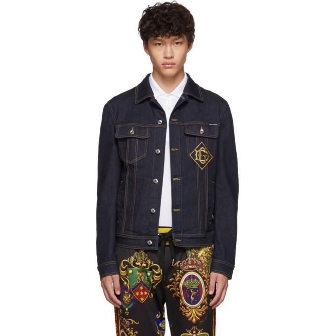 Photo: Dolce and Gabbana Blue Denim DG Logo Jacket